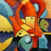 """Figure, Abstract, Landscape #2, 24""""x24"""", Oil,"""