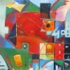 Sq. w/ Friends. 36x36x1.5. Oil.